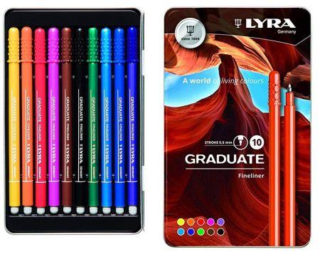 LYRA GRADUATE FINELINER 10 - Метална кутия Lyra ТЪНКОПИСЦИ за рисуване F 10бр