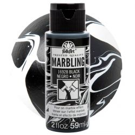 FOLK ART  NEW MARBLING PAINT - Боя за мраморен ефект 59мл BLACK / ЧЕРЕН