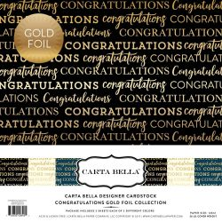 "Carta Bella CONGRATULATIONS GOLD FOIL 12"" x 12""- Дизайнерски блок 30.5 X 30.5"