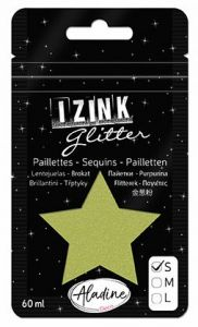 IZINK GLITTER S - Диамантен брокат за декорация 60ml LIGHT GREEN