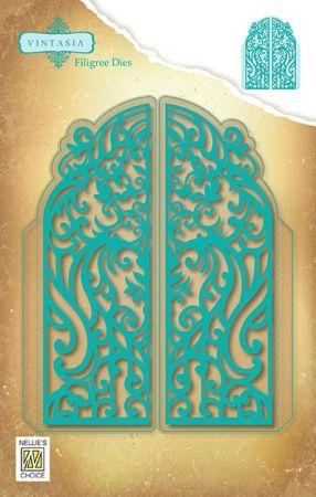 VIND064 Vintasia Dies:  FILIGREE DOOR 119 x 148mm