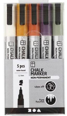 CHALK MARKER SET - Комплект маркери за черна дъска и стъкло 5бр