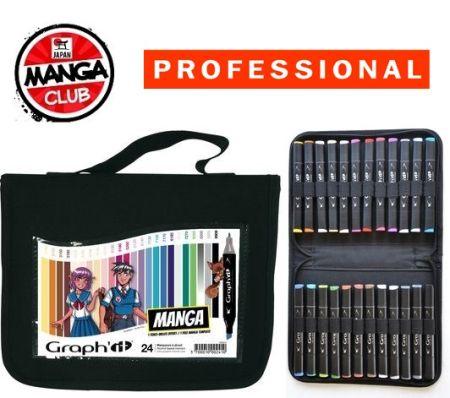 # MANGA MARKER SET  - Комплект АЛКОХОЛНИ маркери за дизайн и МАНГА 24цв