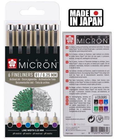 PIGMA MICRON 01 BASIC SET Japan - Профи комплект тънкописци 6цв