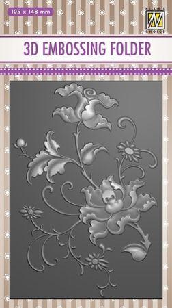 "3D-embossing folder ""FLOWER "" 105x148mm- 3D Ембос папка"