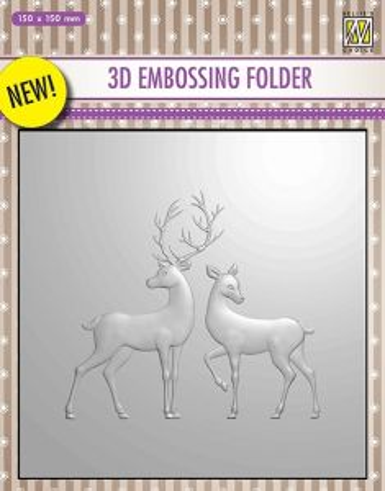"3D-embossing folder ""RAINDEER"" 150x150mm- 3D Ембос папка"