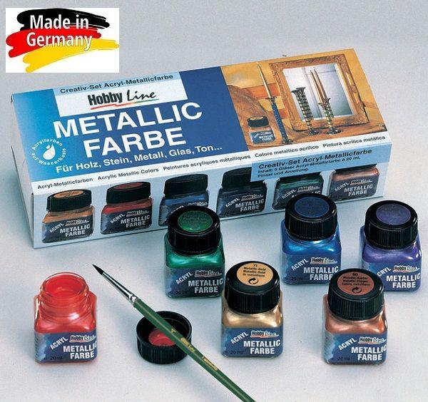 # HobbyLine METALLIC FARBE - Акрилни Металикови декор бои 6цв № 77600