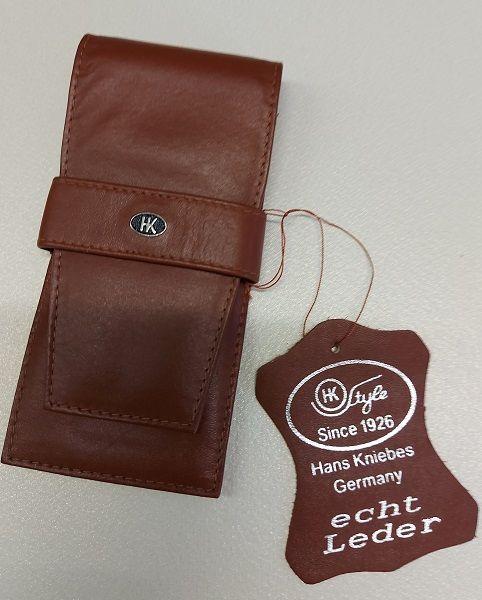 HK pen wallet 3 Germany - Кожен несесер за 3 пишещи средства COGNAC