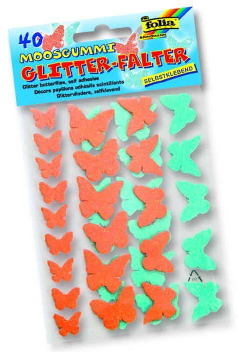 3D GLITZER STICKER BUTTERFLIES - 3D глитер стикери Пеперуди  изработени от MOOSGUMMI  40 бр.