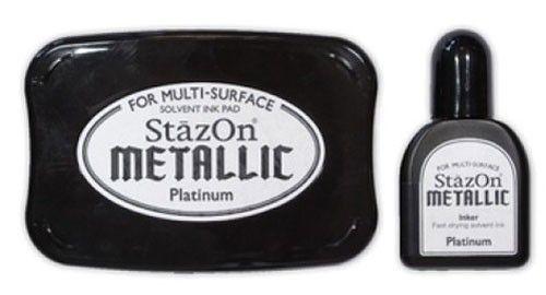 StazOn METALLIC - Тампон + мастило за всякаква твърда или гланцирана повърхност - Платина