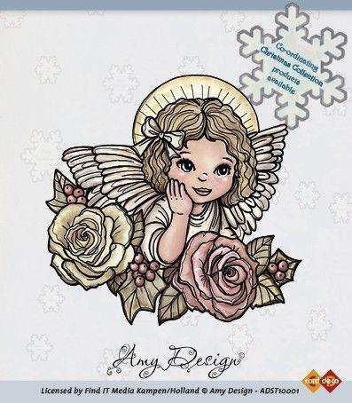 Amy Designs Stamp - Angel with Roses - прозрачни печати 8x8 cm.