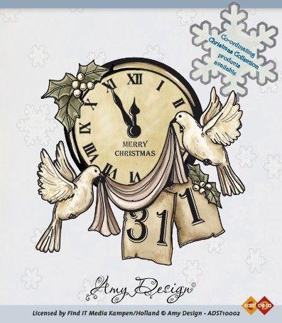 Amy Designs Stamp - Clock with Doves - прозрачни печати 8,3x8 cm.