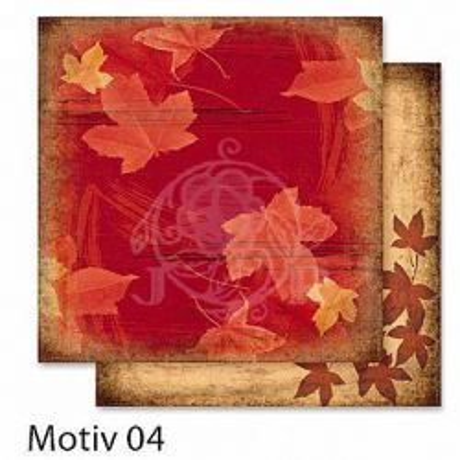 FB Autumn 04 - Дизайнерски картон с ембос-глитер елементи - 30,5 Х 30,5 см.