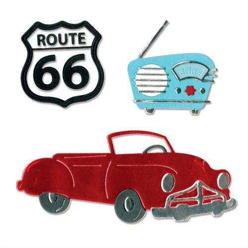 AUTO Thinlits Die   - Щанци за рязане и релеф 10бр Vintage Car & Radio