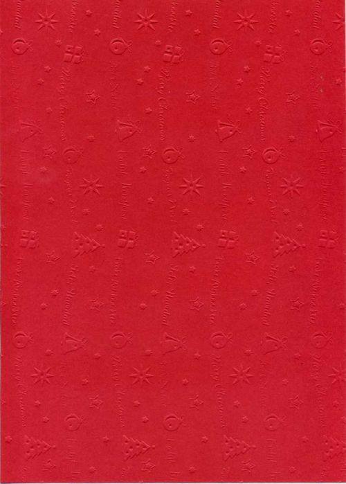 """FB EMBOSS CARD - Преге картон 230гр """"КОЛЕДНИ МОТИВИ"""" 50х70см - Тъмно червено"""