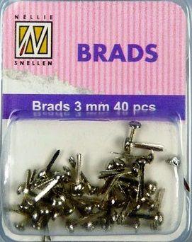 BRADS 3mm 40 бр FLORAL SILVER