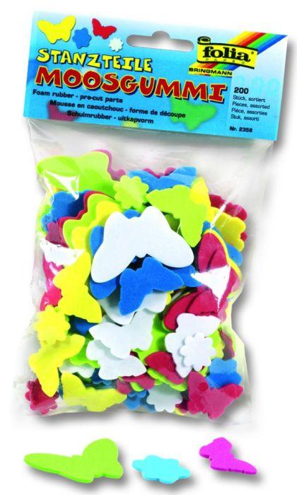 3D елементи Пеперуди/Цветя - изработени от MOOSGUMMI - 200 бр.