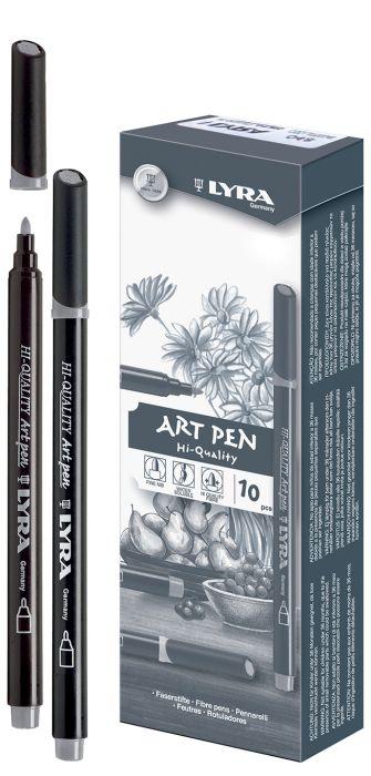 HI-QUALITY ART PEN - Висококачествен Art Pen с филцов връх - Студено Тъмно Сиво