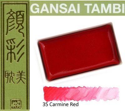 GANSAI TAMBI Watercolours , JAPAN - Екстра фин японски акварел CARMINE RED No 35