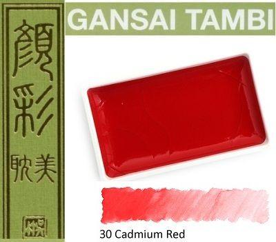 GANSAI TAMBI Watercolours , JAPAN - Екстра фин японски акварел CADMIUM RED No 30