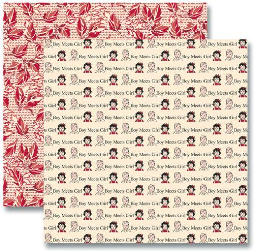 JENNI BOWLIN USA # RED/BLACK - Дизайнерски скрапбукинг картон 30,5 х 30,5 см.