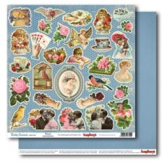 "SCRAPBERRY # HOLIDAY ROMANCE - MEMENTOS 12X12"" 180g - Дизайнерски картон 30,5 х 30,5 см."