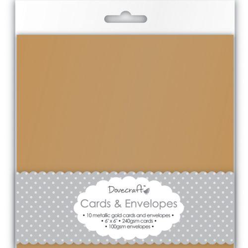 "DOVECRAFT Antique Gold 6""x6"" Cards & Envelopes 8бр  - Перлени основи за картички с плик - антично златно DCCE002"