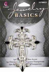 JEWELRY BASICS USA  - ACCENT SILVER / CLEAR CROSS 6.5 x 5 cm