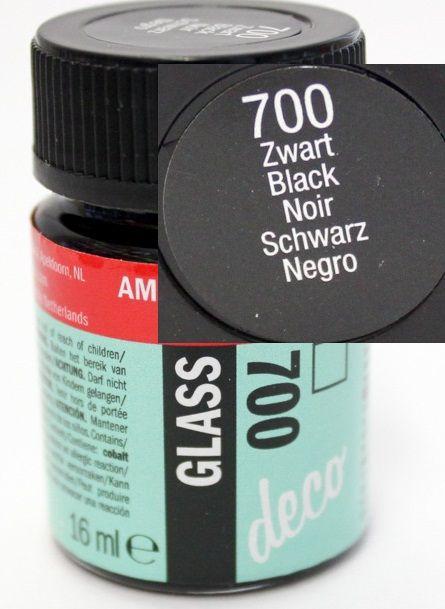 Decorfin Glass 16ml , TALENS - Витражна боя от най-високо качество - Плътно Черно