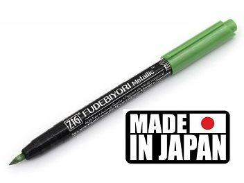 FUDEBIYORI BRUSH PEN * JAPAN - Металиков маркер четка METALLIC GREEN