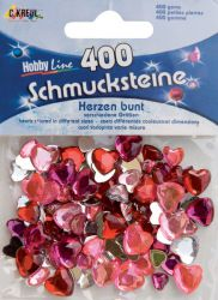 ACRYLIC CRYSTALS HEARTS - Призматични камъчета-сърца, микс размери - цветни 400 бр.