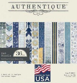 """AUTHENTIQUE USA # GENUINE - Дизайнерски блок 6""""х6"""" / 36 листа"""