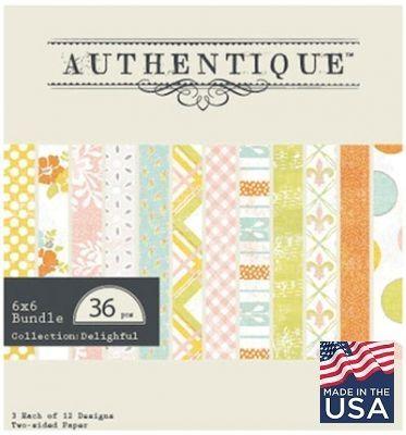 "AUTHENTIQUE USA # DELIGHTFUL - Дизайнерски блок 6""х6"" / 36 листа"