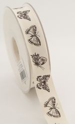 Printed Cotton Ribbon 20mm x5m - Деко текстилна панделка VINTAGE BUTTERFLIES