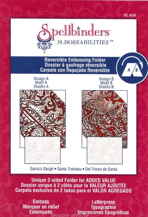 FOLDER Spellbinders, USA - Папка за релеф(ембос) 2 ДИЗАЙНА 13х19 см. / Santas Sleigh