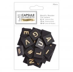 METALLIC WOODEN TILE LETTERS 30бр