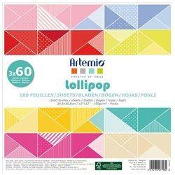"""ARTEMIO SCRAP BLOCK 180SH - Дизайнерски блок 12""""х12"""" / 180листа LOLLIPOP"""