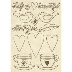 DECO WOODEN SHAPES A5 LIFE IS BEAUTIFUL CUP  - Декоративни дървени елементи - 15бр.