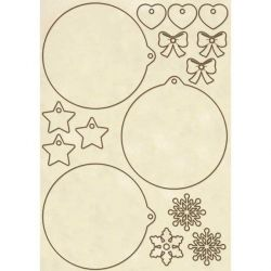DECO WOODEN SHAPES A5 CHR SPHERES  - Декоративни дървени елементи - 15бр.