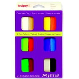 SCULPEY,USA - К-кт 12 цв полимерна глина - основни цветове