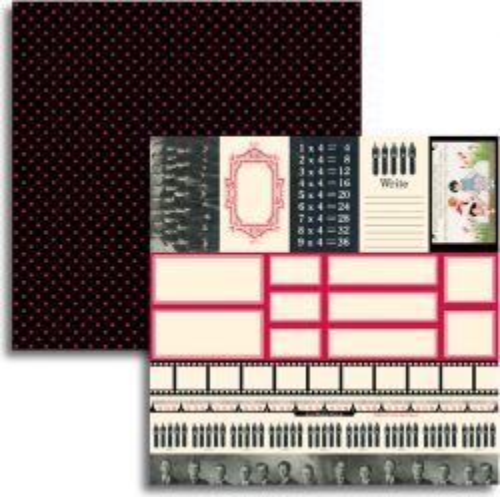 JENNI BOWLIN USA # RED BLACK EXTENSION IV - Дизайнерски скрапбукинг картон 30,5 х 30,5 см.