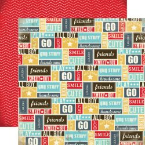 CARTA BELLA USA #  BOY OH BOY - Дизайнерски двустранен скрапбукинг картон 30,5 х 30,5 см.
