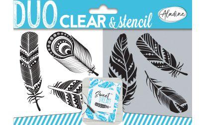 ALADINE DUO CLEAR & STENCIL  - Прозрачни  печати + ШАБЛОН