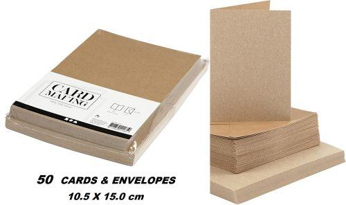 CREATIVE cards & envelopes 105 x 150mm - 50 картички + 50 плика КРАФТ