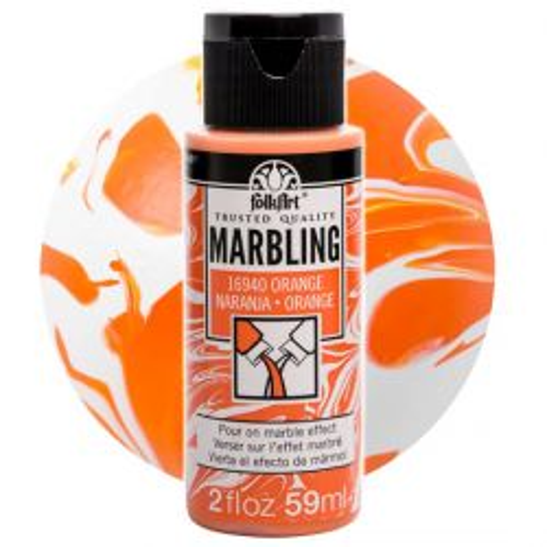 FOLK ART  NEW MARBLING PAINT - Боя за мраморен ефект 59мл ORANGE / ОРАНЖ