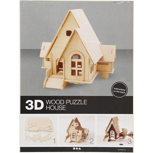 3D Wood Construction Kit HOUSE WITH RAMP - Дървен конструктор 19x17.5x15