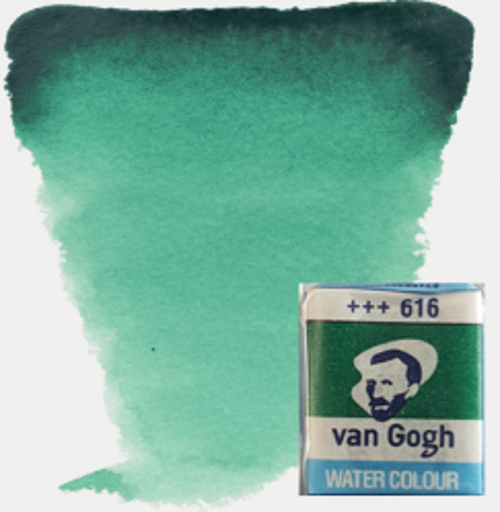 VAN GOGH WATERCOLOUR PAN - Екстра фин акварел `кубче` # Viridian green 616
