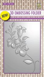 "3D-embossing folder ""branch with flowers"" 105x148mm- 3D Ембос папка"
