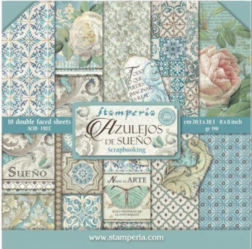 STAMPERIA PAD - Azulejos de Sueno   - Дизайнерски блок 20.5 X 20.5CM