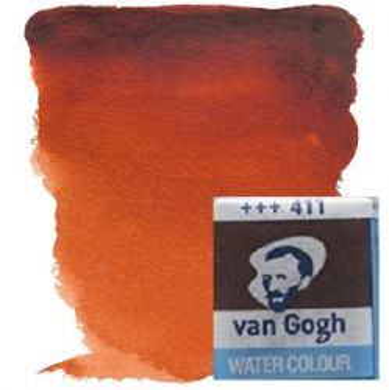VAN GOGH WATERCOLOUR PAN - Екстра фин акварел `кубче` # Burnt sienna 411